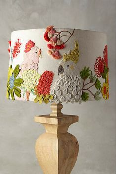 Anthropologie Embroidered Cockatoo Lamp Shade. #lampshade #embroidered #lighting #anthrofave #anthropologie *aff*