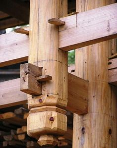 The details of joinery in a  traditional Chinese timber-frame structure
