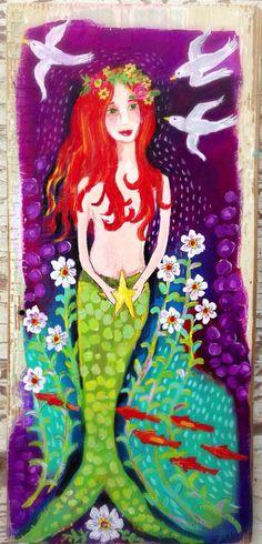 Mermaid Original Painting on Rustic Wood by evesjulia12 on Etsy