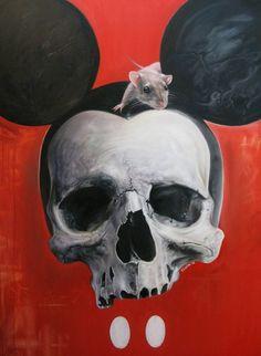 """""""Mickey Skull"""" Art Print by Elvin Tattoo on Artsider.com - Get the print for $22.50 - http://www.artsider.com/works/28937-mickey-skull #skull #mickeymouse"""