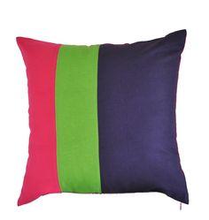 Colorblock Pillow Cover, Coral Green Dark Purple, Decorative Throw Pillow Cover, Linen Pillow Cover, Modern Home Decor, Striped Trio Pillow