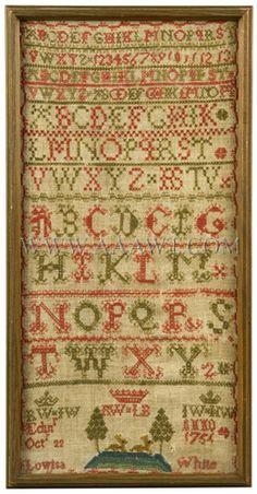 Antique Needlework, Marking Sampler by Lowisa White, Circa 1754