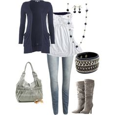 Loving the navy cardigan and grey boots/purse.