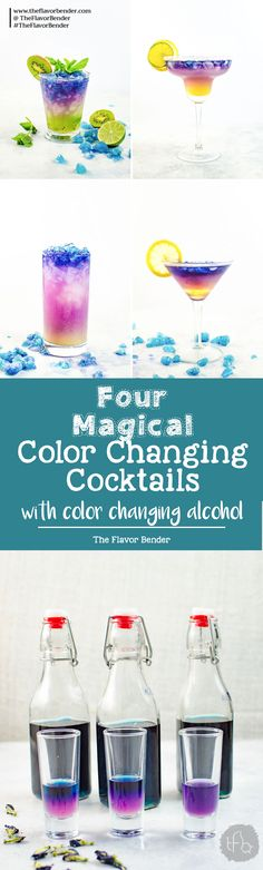 Magical Color Changing Cocktails (Galaxy Cocktails) - Four incredible Magical Cocktails to make and be inspired to make your own! Wow your friends and family with these fun and unique cocktails made with color changing alcohol. (And they glow in the dark too!)  #GalaxyCocktails  via @theflavorbender