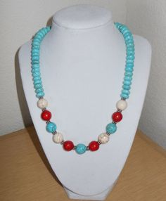 Patriotic Fever/Genuine turquoise howlite by CreationsbyMaryEllen, $18.97