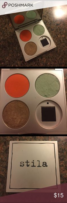 Stila Custom Eyeshadow Palette 100% Authentic. Three shades, Mimosa- true orange, Mint Green, and 24K- bronzey/gold. No trades. Price is negotiable. Sephora Makeup Eyeshadow