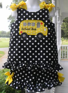 Handmade Back to School Outfit School Bus Applique BLack and White polka Dot Shorts and Top. 42.99,