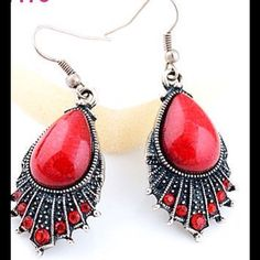 Sheik silver & red earrings w/ rhinestone accents Sheik silver tone & red dangle earrings w/ rhinestone accents Jewelry Earrings