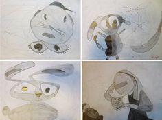 GARABATO: Los alumnos buscan imágenes a través de sus garabatos. Tienen que aplicar sólo tres tonos de gris a sus dibujos.  3º de EP, Colegio Alameda de Osuna.