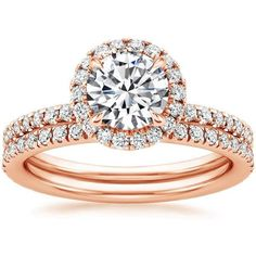 14K Rose Gold Waverly Diamond Matched Set (3/4 ct. tw.) ($2,740) ❤ liked on Polyvore featuring jewelry, rings, druzy ring, rose gold ring, 14k jewelry, red gold ring and 14k rose gold ring