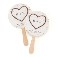 Stay cool with this #Rustic Heart Favor Fan personalized with the bride and groom's name and wedding date.