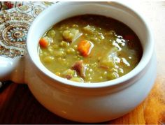 This Split Pea Soup, adapted from Cook's Illustrated coaxes out so much flavor - it you haven't had homemade, you haven't had Split Pea. Crockpot Recipes, Soup Recipes, Cooking Recipes, Recipies, Navy Bean Soup, Cooks Illustrated Recipes, Split Pea Soup Recipe, Ham Soup, Steamed Vegetables
