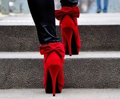 Suede Red Bow Heels