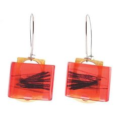 Sketch Earrings Red by Anne-Marie Chagnon Ear Jewelry, Jewelry Art, Jewelery, Unique Jewelry, Jewelry Design, Jewelry Making, Earring Trends, Jewelry Trends, Mexican Designs