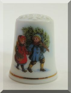 Vintage Avon Christmas Porcelain Thimble
