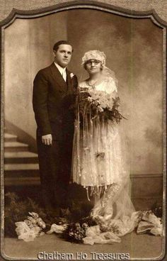Pretty 1920s Matted Vintage Wedding photo bride wears glasses