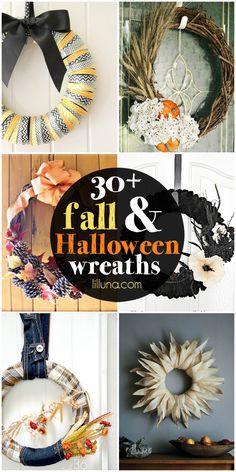 30+ Fall and Halloween Wreaths - a must see roundup on { lilluna.com } SO many cute ideas!