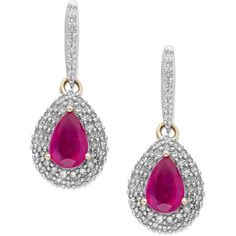 14k Gold Ruby (1 ct. t.w.) and Diamond (1/3 ct. t.w.) Teardrop... (1.360 RON) ❤ liked on Polyvore featuring jewelry, earrings, tear drop earrings, gold drop earrings, diamond earrings, 14k yellow gold earrings and 14k gold earrings