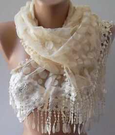 Beige   Elegance  Shawl / Scarf with Lacy Edge by womann on Etsy, $19.90