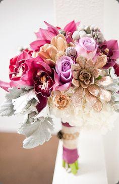 gold/glitter succulent. for bridesmaids bouquet?  Botanical Brouhaha: image via Pixies Petals and Candice Benjamin Photography