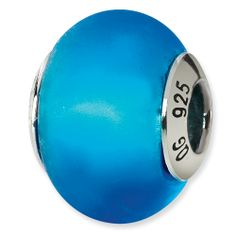 Sterling Silver Reflections Blue Matte Italian Murano Bead