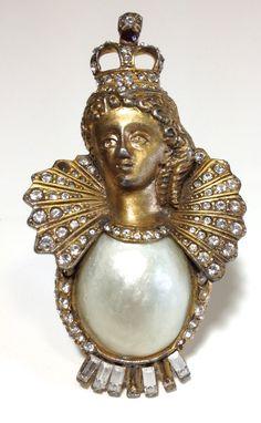 Vintage RARE Hattie Carnegie Queen Isabella Brooch