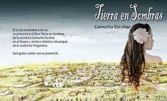 Tarjeta de invitación para la presentación del Libro Tierra en Sombras de Camucha Escobar el 22 de Noviembre de 2014