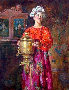 'Samovar for Celebration' - Stanislav Babyuk, oil on canvas Russian Tea Time, Russian Folk, Russian Art, Russian Style, Russian Culture, Russian Painting, Portraits, New Artists, Beautiful Paintings