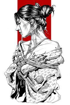 Shibari Girl ink on paper Yury Japanese Artwork, Japanese Tattoo Art, Japanese Art Samurai, Japanese Prints, Ink Illustrations, Art Drawings Sketches, Samurai Artwork, Geisha Art, Geisha Drawing