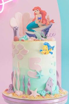 Dive into this gorgeous Little Mermaid birthday party! The cake is so pretty! See more party ideas and share yours at CatchMyParty.com Little Mermaid Birthday Cake, The Little Mermaid, Girl Birthday, Sea Cakes, Mermaid Cakes, Mermaid Parties, Under The Sea Party, Favors, Disney Princess