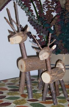 Reindeer made of wood and twigs. I so want to make one.