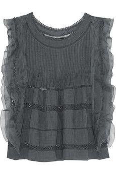 Isabel Marant Ojima ramie, lace and silk top | NET-A-PORTER