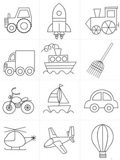 The Transportation Clip Art Set Drawing Lessons For Kids, Easy Drawings For Kids, Art For Kids, Crafts For Kids, Doodle Drawings, Doodle Art, Colouring Pages, Coloring Books, Transportation Theme