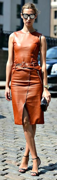 Street style - NYFW Spring 2015 This look speaks to me as well. Easy. I would modify the bodice.