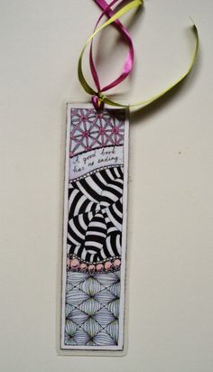 Bookmark, zentangled, pen and colored pencil, OOAK original, gift