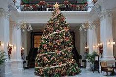een kerstboom in een soort museum