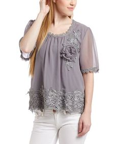 Another great find on #zulily! Gray Lace Scoop Neck Silk-Blend Top - Women #zulilyfinds