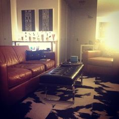 @Room & Board cow hide on mod cow @FLOR. now, I just need to grill myself a steak. #moo #myflor #bachelorpad
