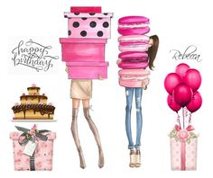 Happy Birthday Rebecca by beleev on Polyvore featuring art