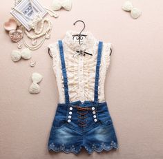 2015 spring new double-breasted high waist suspenders jeans overalls cute shorts