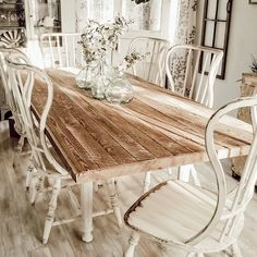 Hooker Furniture Sanctuary Spindle Back Dining Chair Farmhouse Dining Room Table, Farmhouse Kitchen Tables, Farmhouse Interior, Dining Chair, Large Dining Room Table, Shabby Chic Dining Room, Farmhouse Furniture, Farmhouse Ideas, French Country Dining Room