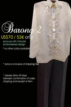 Modern Barong Tagalog Barong Tagalog, Filipiniana, Modern, Color, Design, Colour, Trendy Tree, Colors