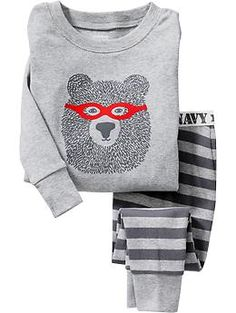 Bear-Graphic PJ Sets for Baby