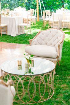 Tufted Lounge Chair | Elegant Thomas Bennett House Wedding by Charleston wedding photographer Dana Cubbage