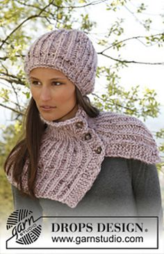Ravelry: 141-34 Kate - Hat and neck warmer in English rib with buttons in Eskimo pattern by DROPS design