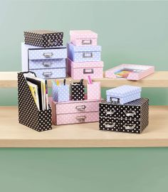 Polka Dot Desk Accessories from The Reject Shop. Prices from $2 - $12. Pink, Lilac or Black storage for your pens, magazines, documents, disks and anything else you could possibly imagine.