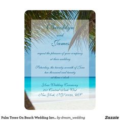 Palm Trees On Beach Wedding Invitations