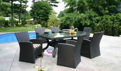 Outdoor brown wicker dining set by Lane Venture.