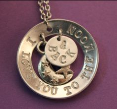 Items similar to Handstamped - I love you to the moon and back necklace on Etsy Back Necklace, Washer Necklace, I Love You, My Love, Hand Stamped, Moon, Trending Outfits, Unique Jewelry, Handmade Gifts