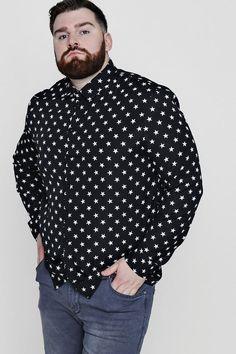 boohoo Big And Tall Star Print Long Sleeve Shirt Chubby Men Fashion, Mens Plus Size Fashion, Big Men Fashion, Men's Fashion, Mens Sleepwear, Vetement Fashion, Beefy Men, Beautiful Men Faces, Evening Attire